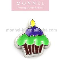 F77 MONNEL Best Selling Green Cupcake Birthday Celebration Floating Charm