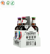with handle on the top 4 pack custom made corrugated paper beer bottle carriers