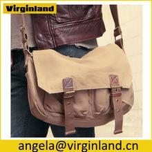 2361 Hot Selling Khaki Men School Casual Canvas Shoulder Bag with Long Strap
