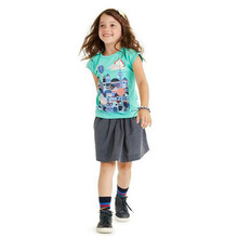 Kid t-shirt 2014 fashion girl short sleeve high kids tshirt