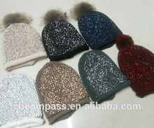 decorate big size 12cm raccoon fur pompom women knit hat