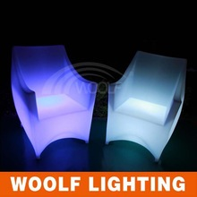 led glowing high wing back plastic arm coffee chairs