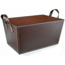 China wholesale faux leather storage basket for laundry basket leather with handle