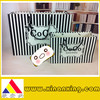The Modelling of Simple Black & White Stripes Shopping Bags Fashion Bags
