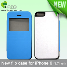 PU+Hard plastic Sublimation Case for iPhone 6 ( 4.7 inches ) flip case with front window