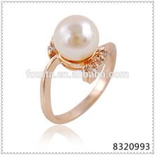 Wedding ring, luxury decorated fashion women pearl jewelry gold wedding ring