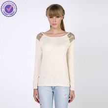 2015 spring women fashion trendy roll up long sleeve sequin beaded tee shirt