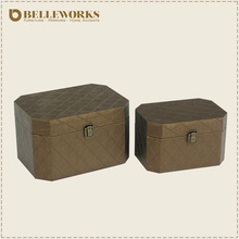 Leather covered wooden trunk with antique style