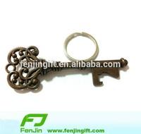 Antique metal bottle opener key ring