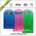 Não tecido do terno do vestuário saco, plástico transparente com zíper saco de vestuário