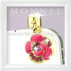 ip101-1 Monnel 2014 Trendy Gift Custom Alloy Hot Pink Crystal Flower Charm Char