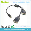 USB 2 Port Serial DB-9 RS-232 Adapters with Prolific Chipset