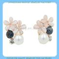venta al por mayor, 18k pendientes de flor chapados de color de rosa, famosa joyería de perlas en el alibaba