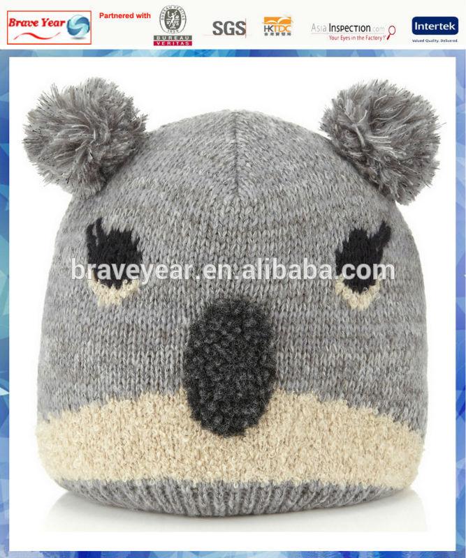 Koala face pom pom adult animal knitted hat