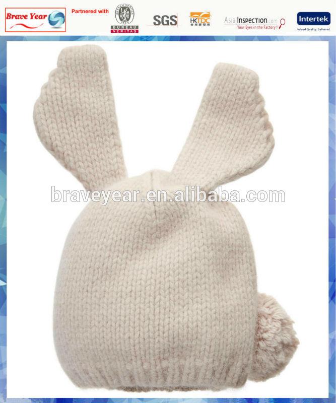 white rabbit ear design 2014 fashion knit hat with pom pom