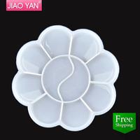 free shipping plastic flower shape nail polish paint palette/ Nail art drawing color palette #3208