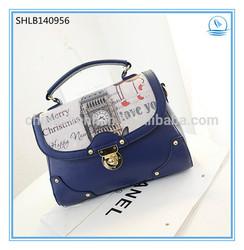 fashion PU bags woman retro vintage handbags city print bag