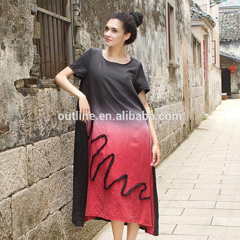 عالية الجودة عارضة الكتان 100 التدرج appliqued اللباس ماكسي لونغ تركيبة اللون