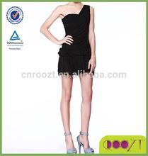 New fashion design A-line black pleat skirt one shoulder night dress sex
