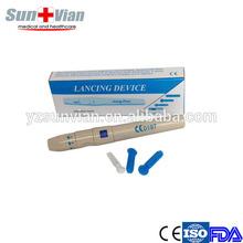 Disposable medical device pen type for blood sampling