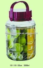 5L bubble wine glass jar with plastic cap