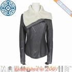 ladies fashion winter leather jacket with fur collar