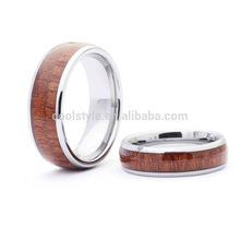 Double row koa wood inlay tungsten carbide ring tungsten couple rings new tungsten rings