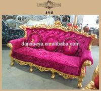 gold gilded royal sofa furniture , wood carved pink velvet wedding sofa set