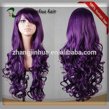 Best quality 100% virgin wholesale long human purple lace front wig