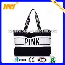 Black canvas travel tote beach pool bag
