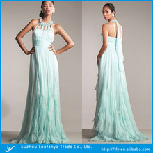 2014 New arrival custom made fashion halter with pleat evening dress