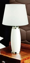 white fabric cover ceramic/marble base hotel bedside table lamp