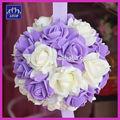 púrpura 30cm blanco mezclado de espuma artificial flor color de rosa bola besos para central de la boda decoración