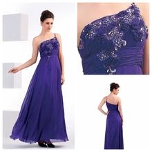 Modern style one shoulder floral evening dress with sash plus size formal dress promotion