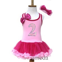 Baby Girls Light Hot Pink Number 2 Birthday Baby Girls Light Hot Pink Number 2 Birthday Tutu Pettiskirt Party Dress and Headband