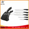 5pc abs+430 punho do aço inoxidável faca de cozinha conjunto com suporte de madeira