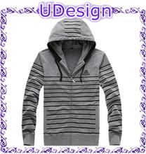 Mens Fashion Yarn Dyed Striped Zip Up Hoodie Stripes Hooded Sweatshirt
