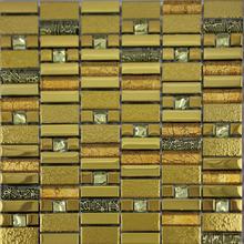 parquet resin and metallic glass mosaic tile