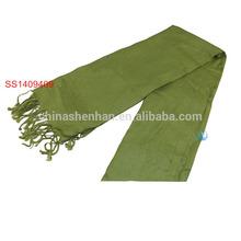 Green Polyester Handmade Scarf Tassel Fringe Woman Scarves