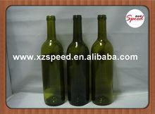750 ml koyu yeşil şarap cam şişe lastik tıpa