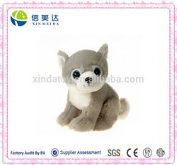 Cute Blue Plastic Big Eyes Plush Animal Wolf Toy