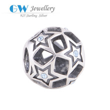 Round shape stars surround 925 silver beads and charms for jewelry making