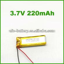 Model U461540 3.7v 220mAh Li-ion battery for electronic products