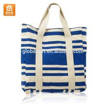Fashion Stripe Shoulder Canvas Women Handbag