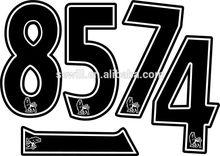 Standard heat transfer soccer numbers on jersey