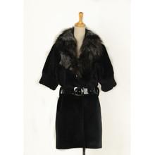 2014 fashion factory price women long fur lined coat