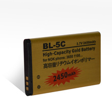 Phone Accessory Factory 2450mAh BL-5C gold battery for nokia mobile phone 3.7v rechargeable battery