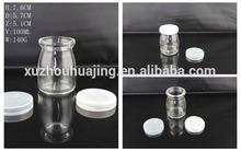 100ml clear glass pudding bottle yogurt bottle jelly bottle with plastic caps glass jar wholesale