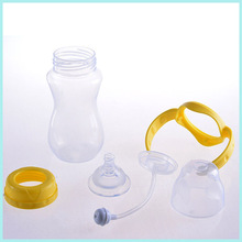 Baby product soft silicone washable baby food water bottle with PP handle and screw cap
