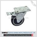 de alta calidad 4 pulgadas giratoria medio lanzador derecho con la parte superior azul bloqueo de ruedas de la pu